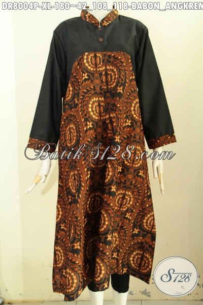Model Baju Batik Kerja Wanita Kantoran, Long Dress Batik Pias Samping Kancing Belakang Dan Kombinasi Kain Polos Trend Mode 2017, Cocok Untuk Wanita Berhijab, Size XL