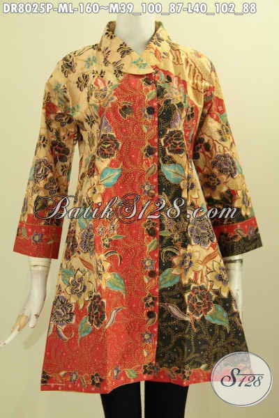 Butik Batik Online Sedia Dress Krah Miring Nan Modis Berbahan Halus Berpadu Motif Trendy Proses Printing, Pas Buat Ke Kantor [DR8025P-L]