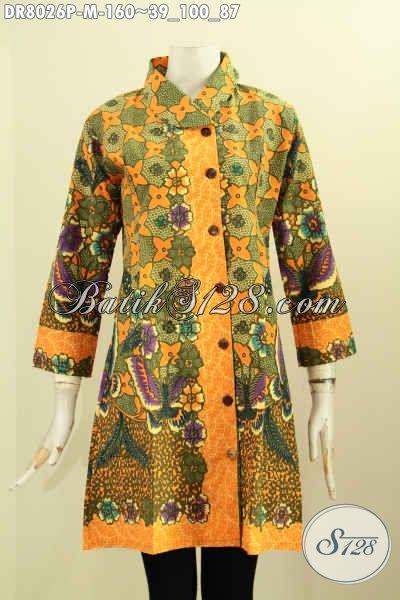 Model Baju Batik Kerja Wanita Muda 2017, Dress Batik Berkelas Proses Printing Kwalitas Bagus Bahan Adem Motif Bunga Dengan Krah Miring Harga 160K, Size M