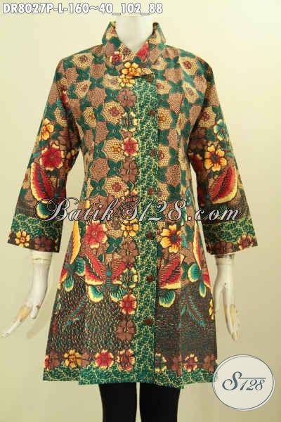 Dress Krah Miring Size L, Pakaian Batik Jawa Tengah Bahan Adem Motif Bagus Proses Printing Untuk Penampilan Lebih Istimewa Dan Gaya Hanya 160 Ribu