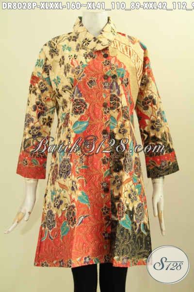 Baju Batik Wanita Dress Model Krah Miring, Busana Batik Elegan Buatan Solo Proses Printing Motif Bagus Hanya 160 Ribu, Tampil Lebih Gaya [DR8028P-XL]