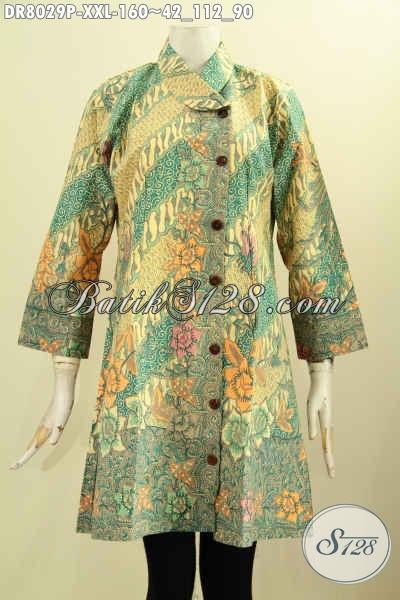 Model Baju Batik Wanita 2017, Dress Batik Hadir Dengan Krah Miring Motif Mewah Berpadu Warna Elegan Proses Printing Hanya 100 Ribuan, Size XXL
