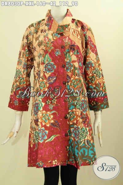 Produk Terbaru Dress Batik Elegan Dan Mewah Dengan Harga Murah, Pakaian Batik Modis Untuk Kerja Dan Acara Resmi Dengan Krah Miring Tren Masa Kini, Size XXL