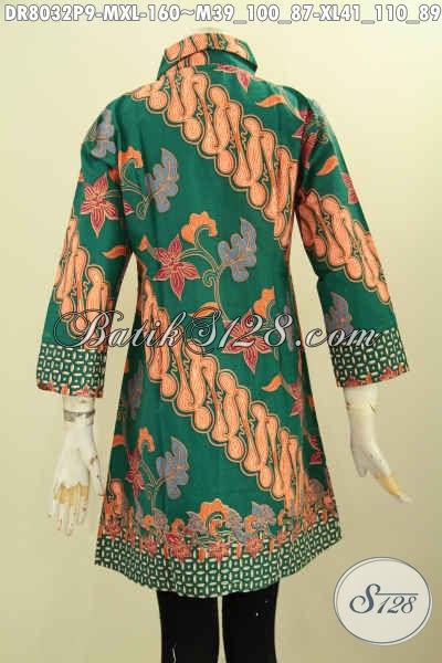 Jual Online Batik Dress Solo Krah Miring Kwalitas Bagus Motif Elegan Proses Printing, Pas Buat Acara Resmi Dan Seragam Kerja, Size M – XL