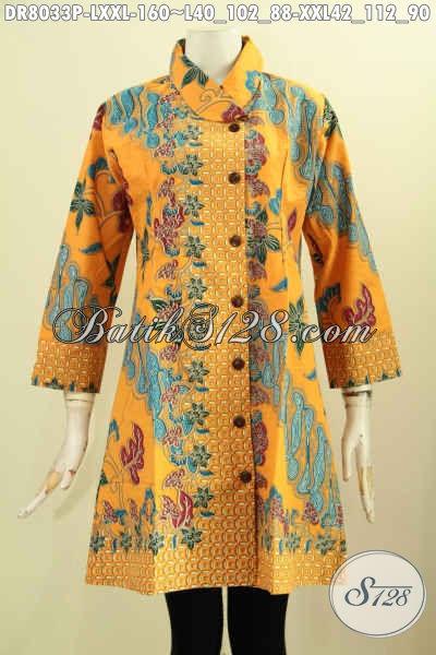 Aneka Baju Batik Wanita Terkini Motif Mewah Bahan Halus Proses Printing Desain Kerah Moring, Penampilan Cantik Dan Gaya Hanya 160K [DR8033P-XXL]