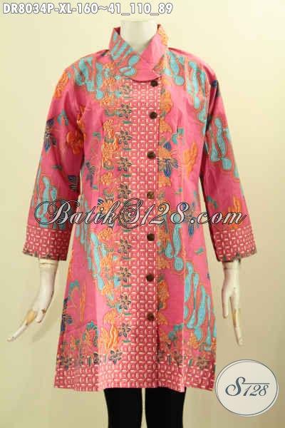 Jual Online Dress Batik Warna Pink, Busana Batik Wanita Untuk Tampil Feminim Dan Modis Model Krah Miring Hanya 160 Ribu [DR8034P-XL]