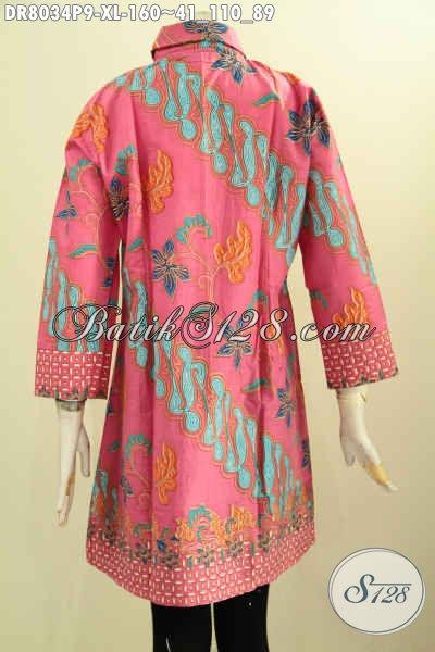 Model Baju Batik Wanita Yang Feminim Banget, Dress Batik Pink Motif Klasik Krah Miring Proses Printing, Tampil Lebih Cantik, Size XL