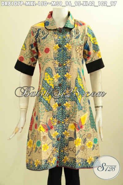 Model Baju Batik Kerja Wanita Muda, Hadir Dengan Krah Bulat Plisir Polos Kwalitas Bagus Harga 150K, Size M – XL