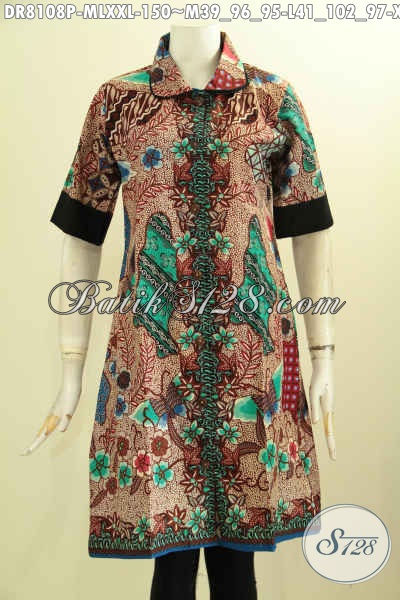 Model Baju Batik Mewah Harga Murah Meriah, Dress Batik krah Bulat Dengan Plisir Polos Kwalitas Bagus Hanya 150K, Size M – L – XXL