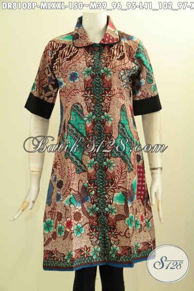 Model Baju Batik Wanita Dress Modis Dan Keren, Pakaian Batik Cewek Dengan Krah Bulat Serta Plisir Polos Bikin Penampilan Mempesona [DR8108P-M]