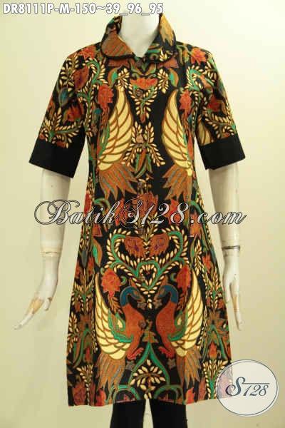 Model Baju Batik Dress Krah Bulat Plisir Polos, Busana Batik Solo Jawa Tengah Halus Motif Mewah Printing, Penampilan Cantik Mempesona, Size M