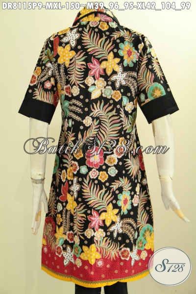 Model Baju Batik Dress Istimewa Untuk Wanita Muda Dan Dewasa Tampil Mempesona, Hadir Dengan Krah Bulat Bahan Adem Dan Plisir Polos Hanya 150K, Size M – XL