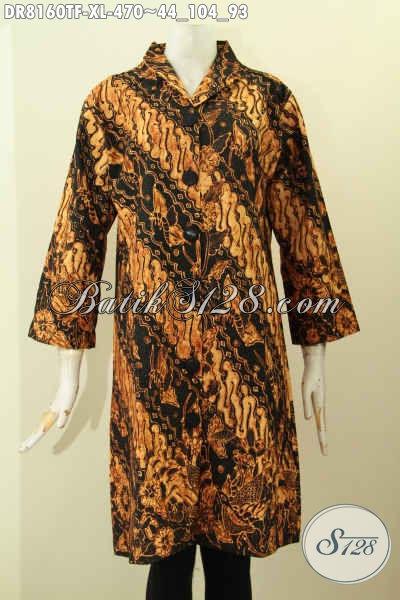 Model Baju Batik Kerja Terusan, Dress Batik Solo Elegan Bahan Halus Motif Klasik Proses Tulis Daleman Full Tricot Harga 470 Ribu, Size XL