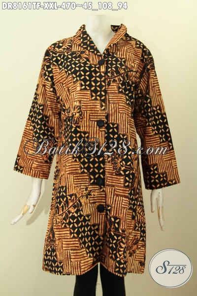 Model Baju Batik Jumbo Spesial Untuk Wanita Gemuk, Dress Krah Langsung Motif Klasik Bahan Adem Full Tricot Proses Tulis Asli Hanya 470 Ribu, Size XXL