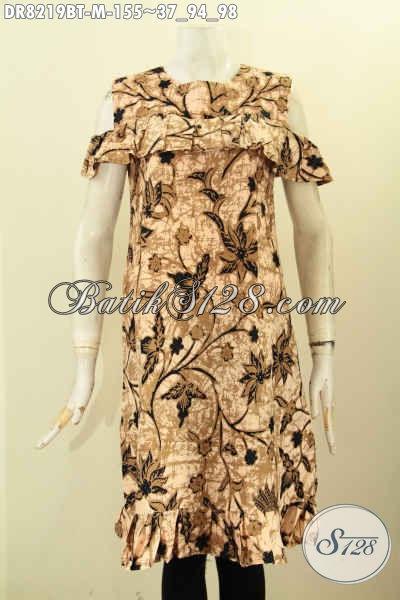 Model Baju Batik Terusan, Dress Batik Lengan Lobang Bahan Halus Proses Kombinasi Tulis Motif Elegan Hanya 100 Ribuan, Size M