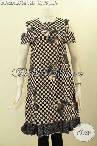 Model Baju Batik Dress Motif Unik Nan Elegan, Pakaian Batik Terusan Kombinasi Tulis Lengan Lobang Dan kancing Belakang, Tampil Anggun Dan Cantik [DR8220BT-M]