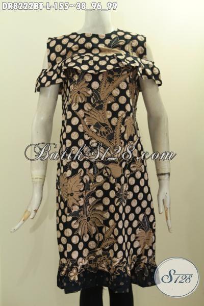 Batik Dress Halus Size L, Produk Busana Batik Wanita Untuk Tampil Berkelas Desain Lengan Lobang Dan Resleting Belakang, Tampil Lebih Anggun