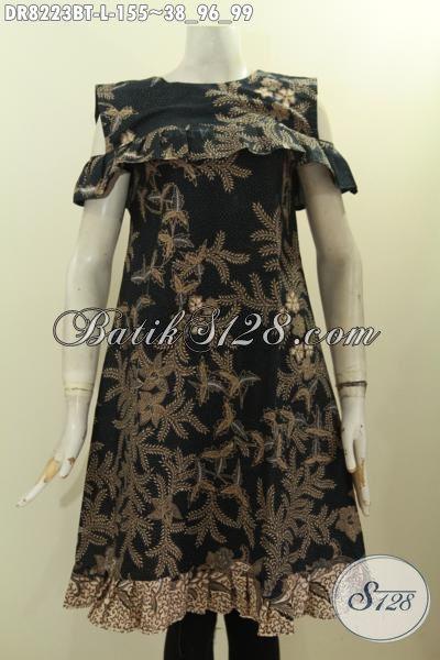 Model Baju Batik Dress Solo Halus Kwalitas Istimewa Harga Biasa, Hadir Dengan Desain Lengan Lobang Dan Resleting Belakang Hanya 155K, Size L