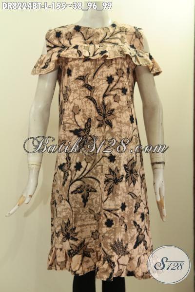 Jual Online Batik Dress Elegan Motif Bagus Kombinsai Tulis, Hadir Dengan Model Lengan Lobang Pakai Resleting Belakang, Penampilan Cantik Menawan, Size L