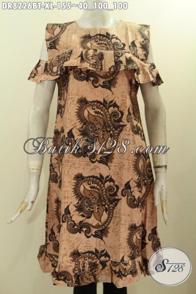 Baju Batik Dress Panjang Motif Kekinian Bahan Adem Kwalitas Istimewa Dengan Lengan Lobang Dan Resleting Belakang, Tampil Makin Bergaya