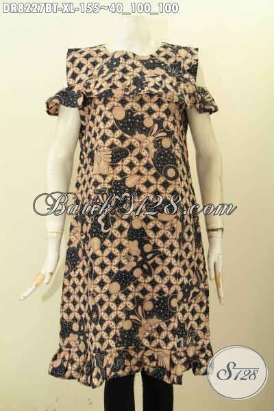 Model Baju Batik Dress Terbaru Cocok Buat Ke Pesta Dan Jalan-Jalan, Pakaian Batik Trendy Lengan Lobang Kancing Belakang Harga 155K [DR8227BT-XL]