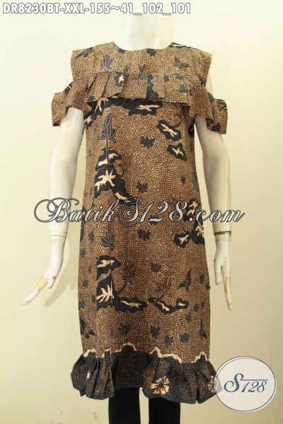 Model Baju Batik Keren Motif Klasik Kombinsai Tulis, Dress Batik Kancing Belakang Tanpa Krah Dengan Lengan Lobang Trend Mode Masa Kini, Spesial Untuk Wanita Gemuk [DR8230BT-XXL]