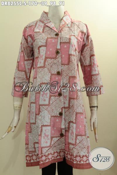 Model Baju Batik Dress Krah Langsung, Busana Batik Trendy Untuk Seragam Kerja Lengan 3/4 Bahan Adem Motif Kekinian Proses Cap Harga 170K [DR8255C-S]