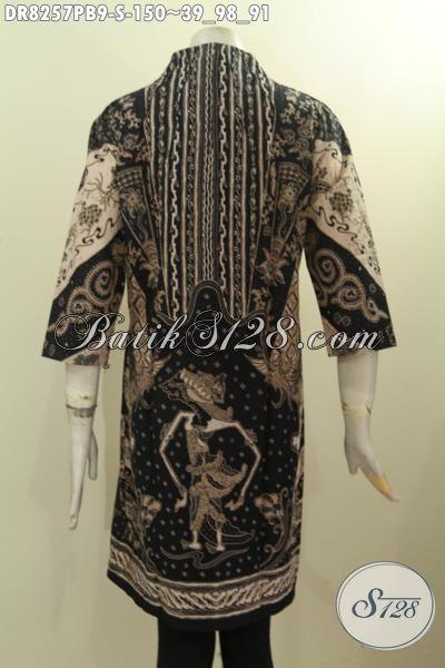 Model Baju Batik Elegan Wanita Kantoran, Busana Batik Perempuan Muda Krah Langsung Motif Mewah Printing Cabut Asli Buatan Solo Hanya 150 Ribu [DR8257PB-S]