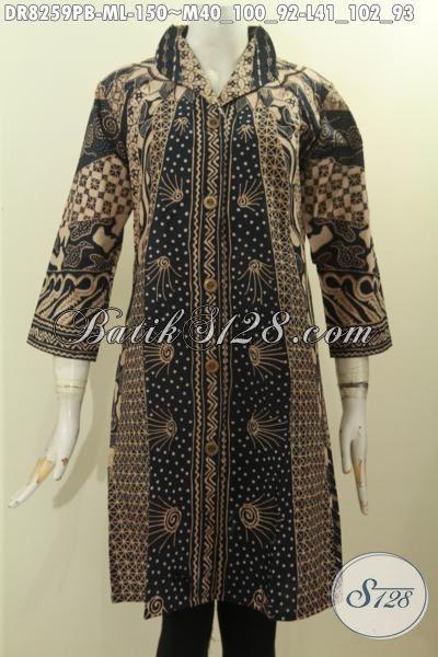 Model Baju Batik Wanita Di Pusat Batik Online Indonesia, Sedia Dress Keren Lengan 3/4 Dengan Krah Langsung, Bahan Adem Nyaman Di Pakai Hanya 100 Ribuan [DR8259PB-M , L]