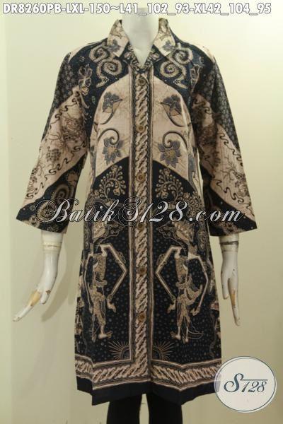 Model Baju Batik Seragam Kerja Wanita Kantoran, Pakaian Batik Perempuan Dewasa Bahan Halus Desain Krah Langsung Motif Bagus Printing Cabut Harga 150K, Size L – XL