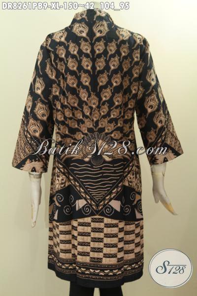 Baju Batik Wanita Dewasa, Busana Batik Solo Jawa Tengah Halus Desain Mewah Krah Langsung Motif Bagus Harga 100 Ribuan, Penampilan Terlihat Berkelas, Size XL