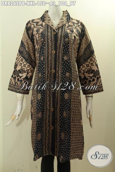 Model Baju Batik Klasik Elegan Mewah Lengan 3/4, Busana Batik Dress Wanita Gemuk Krah Langsung Proses Printing Cabut, Penampilan Anggun Dan Elegan [DR8262PB-XXL]