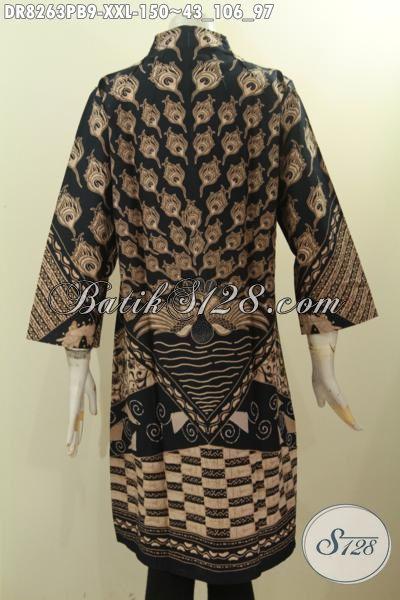 Model Baju Batik ELegan Spesial Untuk Wanita Gemuk, Dress Batik Motif Klasik Printing Cabut Dengan Krah Langsung Bahan Adem Kwalitas Istimewa Harga 150 Ribu Saja [DR8263PB-XXL]