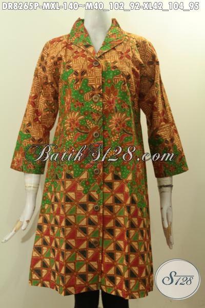 Model Baju Batik Wanita Terkini Untuk Tampil Elegan Berkelas, Pakaian Batik Dress Solo Krah Langsung Bahan Adem Proses Printing Motif Bagus Hanya 140K [DR8265P-M , XL]