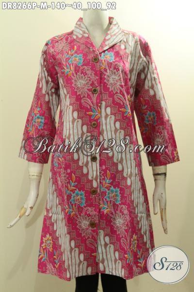 Dress Batik Krah Langsung Motif Parang Bunga, Baju Batik Istimewa Proses Printing Warna Pink, Penampilan Terlihat Feminim, Size M