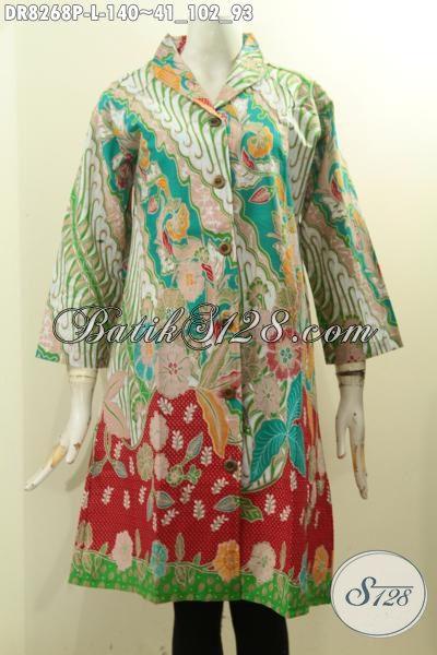 Model Baju Batik Krah Langsung, Dress Batik Istimewa Desain Mewah Bahann Adem Motif Klasik Printing Hanya 140 Ribu, Size L