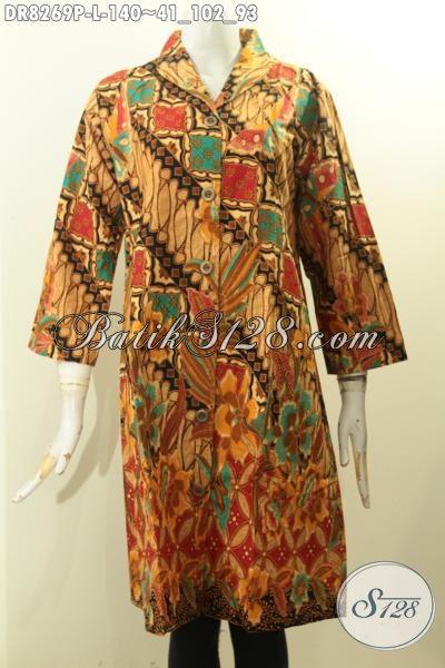 Model Baju Batik Solo Elegan Motif Mewah Dengan Sentuhan Klasik, Pakaian Batik Dress Krah Langsung Untuk Wanita Tamil Gaya Dan Mempesona Proses Printing Harga 100 Ribuan [DR8269P-L]