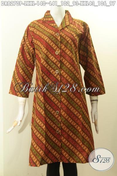 Model Baju Batik Solo Proses Printing Nan Mewah, Pakaian Batik Krah Langsung Motif Klasik Bahan Adem Nyaman Di Pakai, Size L – XXL