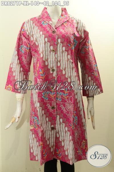 Model Baju Batik Wanita Untuk Tampil Istimewa, Dress Batik Size XL Warna Pink Motif Klasik Printing Solo Hanya 140 Ribu, Tampil Mempesona [DR8271P-XL]