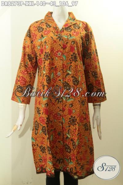 Model Baju Batik Big Size Terkini Untuk Wanita Gemuk Terlihat Cantik Dan Anggun, Dress Batik Krah Langsung Kwalitas Bagus Hanya 100 Ribuan [DR8273P-XXL]
