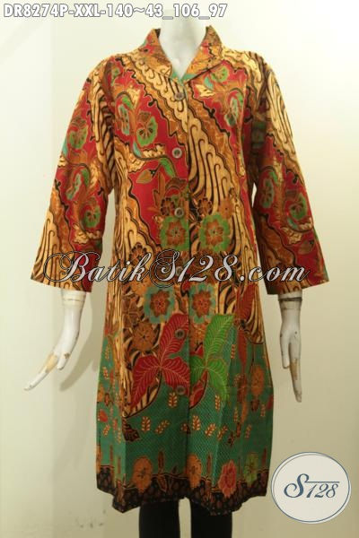 Model Baju Batik Istimewa Spesial Buat Wanita Gemuk, Pakaian Batik 3L Halus Motif Klasik Desain Mewah Asli Buatan Solo Harga Terjangkau [DR8274P-XXL]
