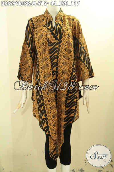 Model Baju Batik Wanita Dress Terbaru, Pakaian Batik Trendy Bahan Paris Motif Bagus Proses Kombinasi Tulis, Penampilan Cantik Mempesona [DR8279BTPR-M]
