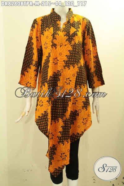Model Baju Batik Wanita Untuk Tampil Gaya, Dress Batik Bahan Paris Motif Klasik Kombinasi Tulis Asli Buatan Solo Hanya 200 Ribuan [DR8280BTPR-M]
