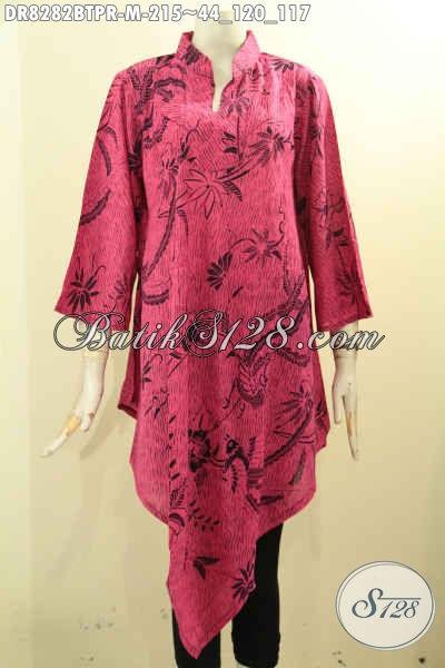 Model Baju Batik Wanita Motif Unik Kombinasi Tulis, Busana Batik Trendy Warna Merah Jambu Bahan Paris Kwalitas Istimewa Harga 215 Ribu Saja [DR8282BTPR-M]
