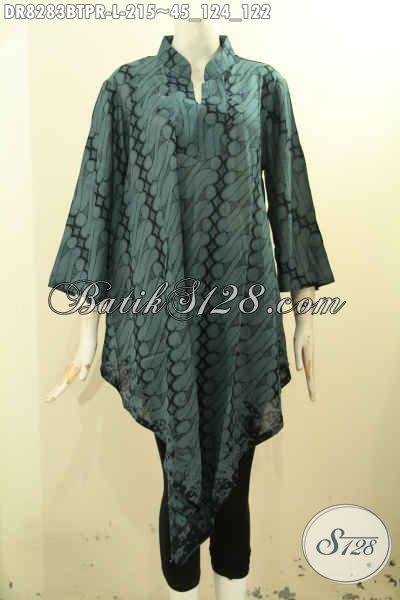 Baju Batik Dress Solo Hijau Tosca, Pakaian Batik Modern Desain Taplak Kwalitas Bagus Motif Klasik Kombinasi Tulis Bahan Paris Harga 200 Ribuan, Size L