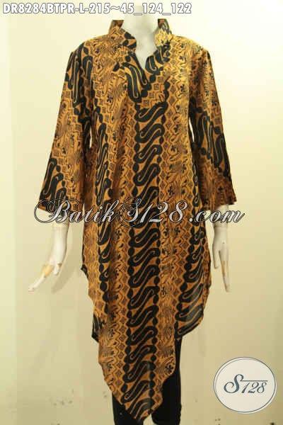 Model Baju Batik Kekinian Untuk Wanita Terlihat Cantik Dan Anggun, Dress Batik Bahan Paris Nan Modis Motif Klasik Kombinasi Tulis Harga 215K [DR8284BTPR-L]
