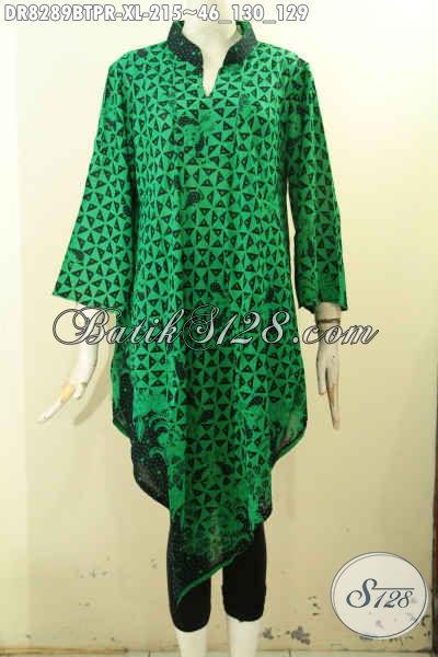 Model Baju Batik Wanita Dewasa Warna Hijau, Pakaian Batik Modis Untuk Hangout Dan Kerja Desain Kekinian, Berbahan Paris Halus Harga 215K [DR8289BTPR-XL]
