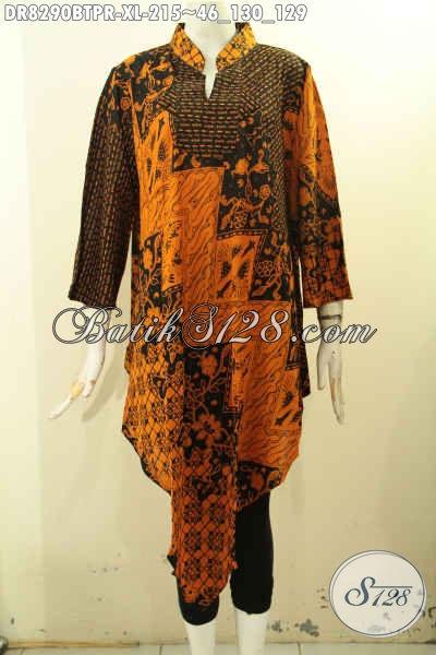 Model Baju Batik Wanita Dewasa Trend 2018, Pakaian Batik Solo Masa Kini Bahan Paris Motif Klasik Kombinasi Tulis, Menunjang Penampilan Keren Dan Gaya, Size XL