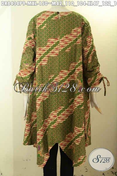 Batik Dress Keren Desain Lipat Depan, Busana Batik Elegan Dan Mewah Motif Bagus Warna Kombinasi Bahan Adem Pakai Kancing Belakang, Tampil Gaya Dan Mempesona [DR8434P-M]