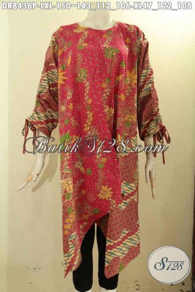 Dress Batik Modis Elegan Dan Istimewa, Busana Batik Solo Berkelas Proses Printing Dengan Desain Lipat Depan Pakai Kancing Belakang Serta Lengan Bertali, Di Jual Online 150K, Size L – XL